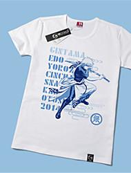 Inspired by Gintama Gintoki Sakata Anime Cosplay Costumes Cosplay T-shirt Print Yellow Short Sleeve T-shirt