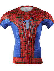 Arsuxeo Men's Short Sleeve Base Layer Running Fitness Cycling Shirts Compression Jersey Spider-Man