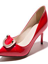 Zapatos de mujer-Tacón Stiletto-Tacones-Tacones-Oficina y Trabajo / Vestido / Fiesta y Noche-Semicuero-Negro / Amarillo / Rojo