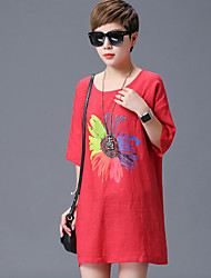 Women's Floral Red T-shirt,Round Neck Short Sleeve