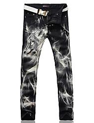 Men's Fashion Black Wolf Print Stretch Denim Jeans