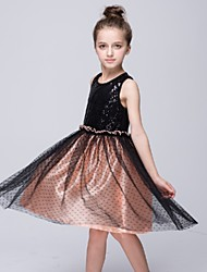 Girl's Black Dress,Dot Polyester Summer