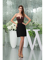 Cocktail Party Dress-Black Sheath/Column Strapless Short/Mini Stretch Satin