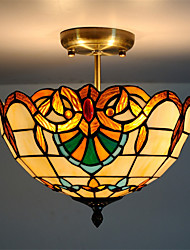 12inch Retro Tiffany Ceiling Lamp Glass Shade Flush Mount Living Room Dining Room light Fixture