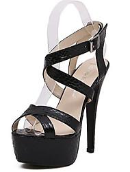 Mujer-Tacón Stiletto-Sandalias-Sandalias-Casual-PU-Negro / Plata
