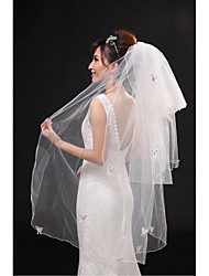 Wedding Veil Three-tier Fingertip Veils Pencil Edge Tulle Beige