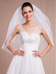 Wedding White / Ivory Veil Two-tier Fingertip Veils Pencil Edge With Comb