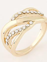 Women's New Fashion European Style Sweet Shiny Rhinestone Band Ring