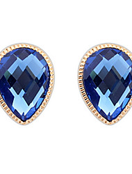 Elegant Women Luxury Jewelry Simulated Gem Coffee and Royal Blue Stone Drops Alloy Stud Earrings