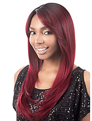 Long Straight Medium Bang Fluffy Synthetic Hair Wig Red Wine Heat Resistant