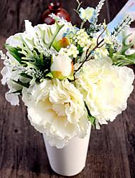 seda peônias champanhe brancas e hortênsias flores artificiais 1pc / set