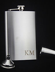 Personalized Stainless Steel Hip Flasks 9-oz  Flask Set Gift   Initials