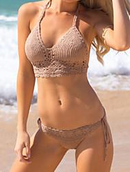 De las mujeres Bikini-Color Único Sin Soporte-Halter-Punto Romano