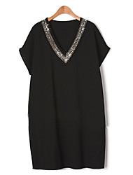 Tee-shirt Aux femmes,Couleur Pleine Décontracté / Quotidien Grandes Tailles / Chic de Rue Eté Manches Courtes Col en V Bleu / Noir