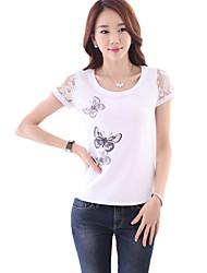 Damen T-Shirt - Spitze Baumwolle / Kunstseide Kurzarm Rundhalsausschnitt