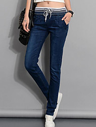 Women's Patchwork All Match Vintage Slim Large Size Harem Pants,Plus Size / Casual / Day / Simple