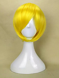 Capless New Stylish Yellow Short Straight Synthetic Hair Wig  with Side Bang Party Wig