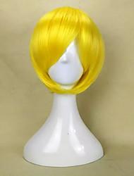 capless novo e elegante amarelo peruca sintética curta reta cabelo com estrondo lado peruca partido