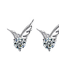 Women's Stud Earrings Fashion Cute Style Costume Jewelry Crystal Silver Plated Wings / Feather Jewelry For Wedding Party Daily Casual