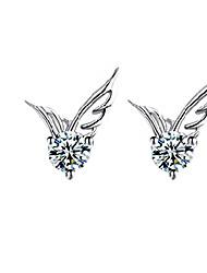 Mulheres Brincos Curtos Moda Estilo bonito bijuterias Cristal Prata Chapeada Asas / Penas Jóias Para Casamento Festa Diário Casual