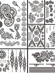 7PCS Black Temporary Tattoo 2016 New Women Men Body Back Art Tattoo Sticker Sexy Flower Totem