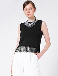 Goelia® Femme Col Arrondi Sans Manches Pull & Cardigan Noir-164W5G030