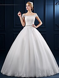 Ball Gown Wedding Dress-Floor-length Off-the-shoulder Tulle