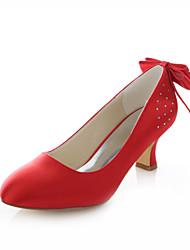 DamenHochzeit / Kleid / Party & Festivität-Stretch - Satin-Blockabsatz-Absätze / Rundeschuh-Rot