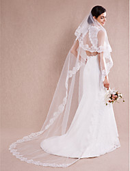 3m One-tier Wedding Veils/Chapel Veils with Lace Applique Edge