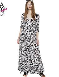 Haoduoyi Femme Col en V Manches 1/2 Maxi Robes-15151A643