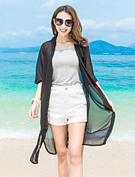Women's Beach Boho / Street chic Summer Shirt,Solid V Neck ½ Length Sleeve Pink / White / Black / Gray Rayon / Polyester Sheer