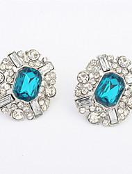2016 Minimalist Fashion Simulated Gemstone Lots Colors Oval Stud Earrings Women Gifts