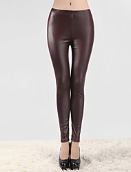 New Design Spring Elegant Skinny Ladies PU Leather Leggings Wild Slim Pencil Trousers Feet Pants Ankle-length Pants