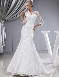 Trumpet / Mermaid Wedding Dress Court Train V-neck Lace with Lace