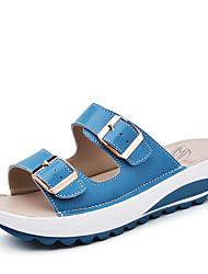 Zapatos de mujer-Plataforma-Plataforma / Creepers-Pantuflas-Exterior / Oficina y Trabajo / Casual-Pelo de Ternero-Negro / Azul / Amarillo