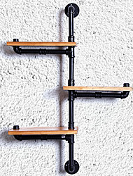DIY Book Shelves American Iron Wall Industrial Loft-Style Wood Wall Shelf Shelves Retro Water Pipe Rack Bookcase-(Z22)