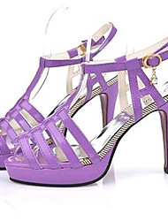 Women's Shoes PU Stiletto Heel Heels Sandals / Heels Wedding / Party & Evening / Dress / Casual Purple / White