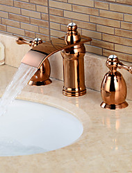 Rose Gold Separated Type Two Handles Bathroom Basin Faucet