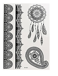 8pcs Body Art Temporary Tattoos Black Flash Metallic Henna Lace Tattoo Sticker Women Jewelry Tattoo Waterproof