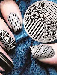 Планшеты шаблон геометрический рисунок искусства ногтя штемпелюя изображение 2016 последняя версия моды