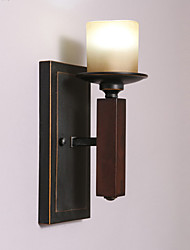 Wooden Wall Light,Black Metal with Glass Shades, Living room Bedroom Dining Room  Kitchen Bar Cafe Hallway Balcony