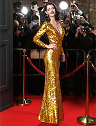 TS Couture Formal Evening Dress - Celebrity Style Sheath / Column V-neck Floor-length Sequined with Sequins