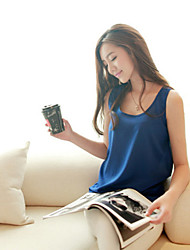 Women's Casual/Daily Simple Summer Blouse,Solid Round Neck Sleeveless Blue / Pink / Red / White / Black / Green / Orange / Yellow Thin