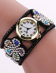 Women's Quartz Analog White Case Flower Leather Band Bracelet Wrist Watch Jewelry Cool Watches Unique Watches Fashion Watch