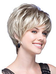 Short Bob Straight Wavy Light Beige Blonde Synthetic Hair Wig Side Bang Heat Resistant