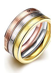 Ringe,Stahl Modisch Hochzeit / Party / Alltag / Normal Schmuck Titanstahl Damen / Paar Bandringe 3 Stück Goldfarben / Silber / Rotgold