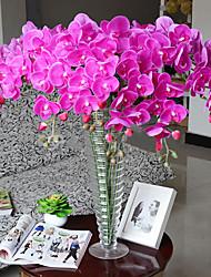 nove cabeças de seda roxo phalaenopsis flores artificiais 1pc / set