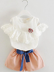 Girl's Blue / Pink Clothing Set,Bow Cotton Summer