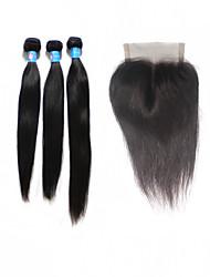 """Реми перуанский девственных человеческого волоса переплетения 8 """"-30"""" 1b прямо с 4 * 4 дюйма 120% закрытия верхней кружева 10 """"-24"""""""