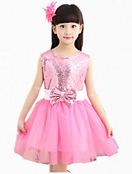 Girl's Pink / White / Yellow Dress,Bow Polyester Summer